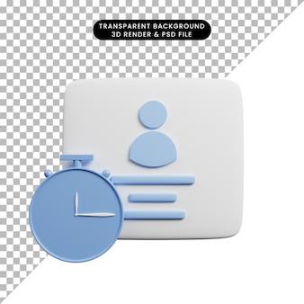 Ilustração 3d do perfil com conceito de tempo e relógio