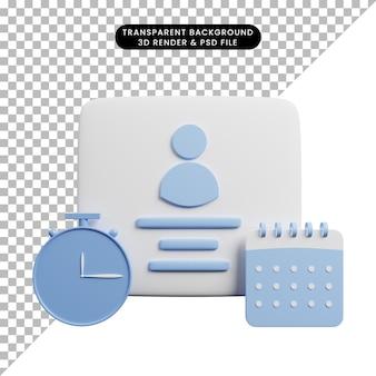 Ilustração 3d do perfil com o conceito de tempo com relógio, calendário