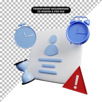 Ilustração 3d do perfil com o conceito de tempo com relógio de areia, despertador, relógio, ponto de exclamação