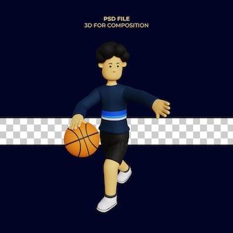 Ilustração 3d do personagem de desenho animado jogando basquete psd premium