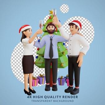 Ilustração 3d do personagem do funcionário, festa de natal de ano novo