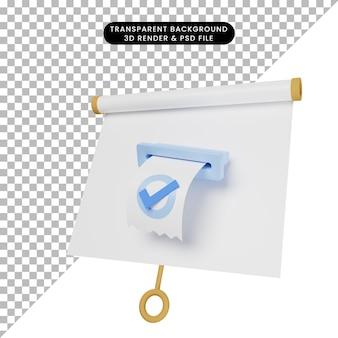 Ilustração 3d do quadro de apresentação de objeto simples vista ligeiramente inclinada com lista de verificação da fatura
