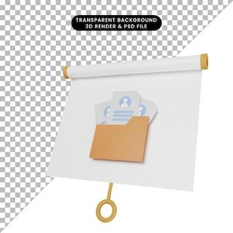 Ilustração 3d do quadro de apresentação de objeto simples, vista ligeiramente inclinada com o candidato de recrutamento no ícone da pasta