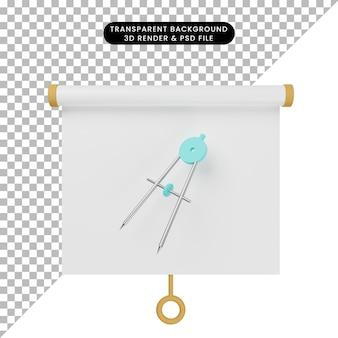 Ilustração 3d do quadro de apresentação de objeto simples vista ligeiramente inclinada com o termo orleon