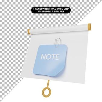 Ilustração 3d do quadro de apresentação de objeto simples, vista ligeiramente inclinada com papel de nota