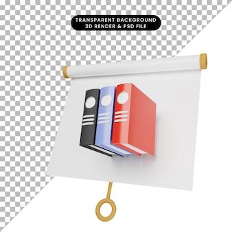 Ilustração 3d do quadro de apresentação de objeto simples, vista ligeiramente inclinada com pasta de escritório