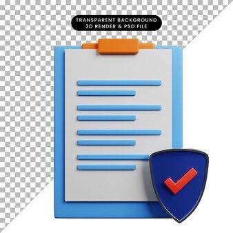 Ilustração 3d do quadro de papel do conceito da lista de verificação com lista de verificação do escudo