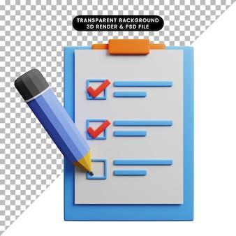 Ilustração 3d do quadro de papel do conceito de lista de verificação com lápis