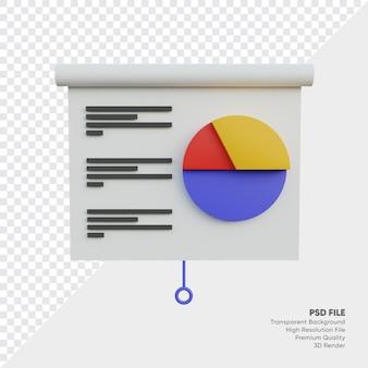 Ilustração 3d do quadro de relatórios de dados Psd Premium