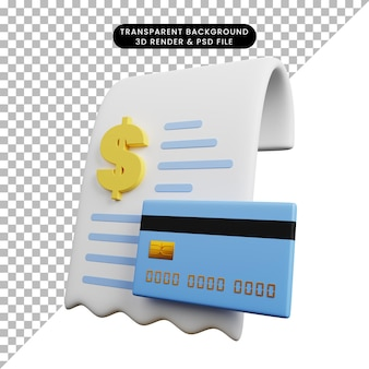 Ilustração 3d do recibo do conceito de pagamento com ícone de dólar e cartão de crédito
