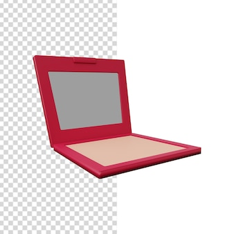 Ilustração 3d do rubor da bochecha com espelho. ilustração 3d em pó com espelho