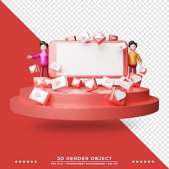 Ilustração 3d do smartphone com botão de reprodução e ícone da lareira ilustração da tecnologia renderização 3d