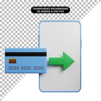 Ilustração 3d do smartphone conceito de pagamento com cartão de crédito