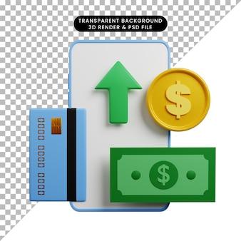 Ilustração 3d do smartphone conceito de pagamento com seta para cima, cartão de crédito, dinheiro, moeda