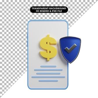 Ilustração 3d do smartphone de conceito de pagamento com dólar e ícone de escudo