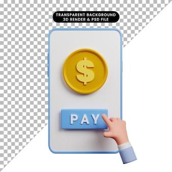 Ilustração 3d do smartphone de conceito de pagamento com moeda e ícone de pagamento de toque de mão