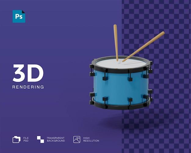 Ilustração 3d do tambor