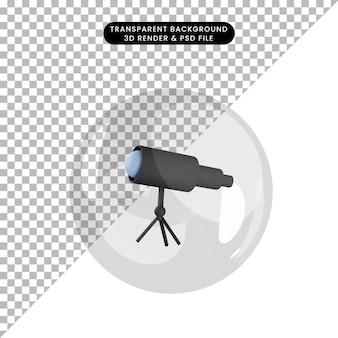 Ilustração 3d do telescópio do objeto dentro das bolhas Psd Premium