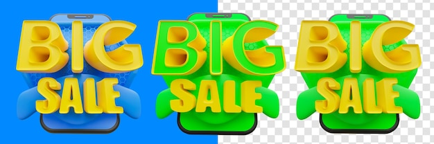 Ilustração 3d do texto de grande venda