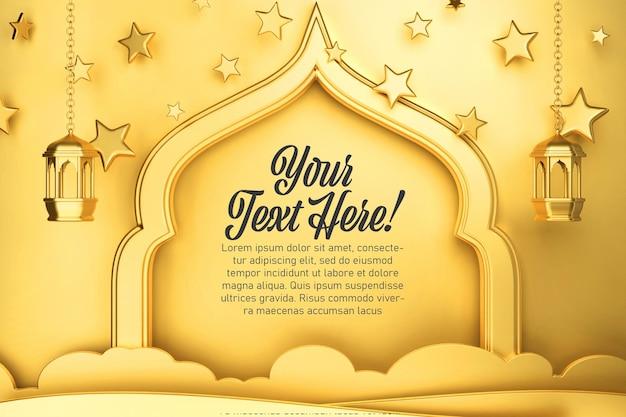 Ilustração 3d elegante do tema do banner do ramadan kareem eid mubarak