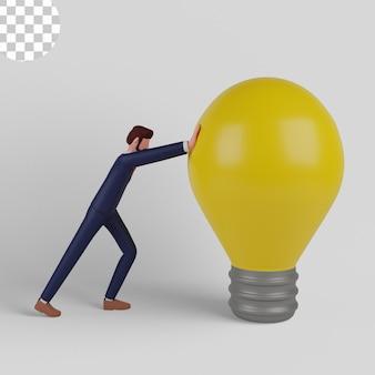 Ilustração 3d. empreendedores têm ideias criativas