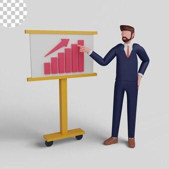 Ilustração 3d. empresário analisando gráficos de crescimento