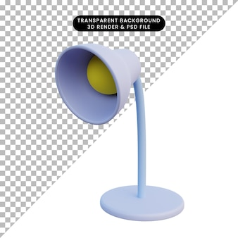 Ilustração 3d estudo de lâmpada de mesa