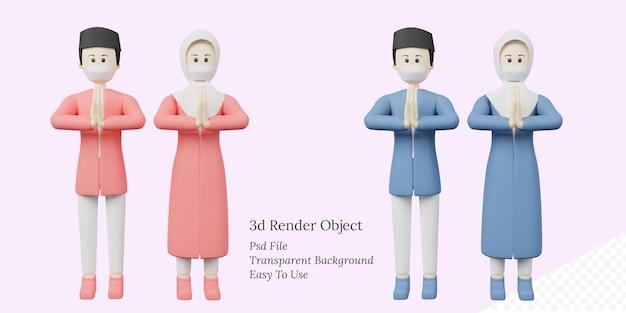 Ilustração 3d feliz ied mubarak com personagem