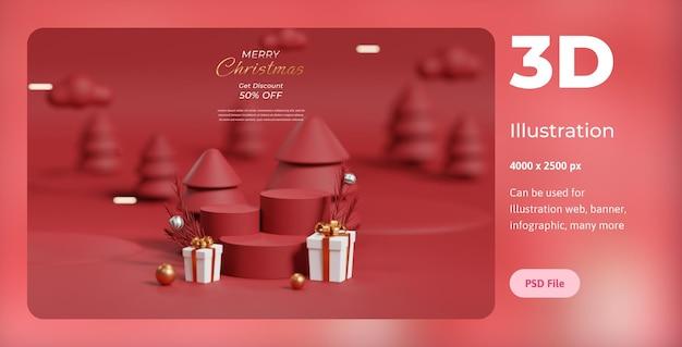 Ilustração 3d feliz natal, com pódio, lâmpada e caixa de prêmios, usada para web, app, banner, etc.