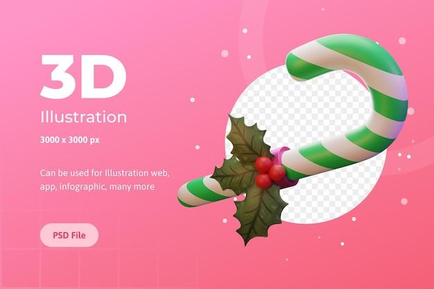 Ilustração 3d feliz natal doce flor poinsétia para publicidade de infográfico de aplicativo da web