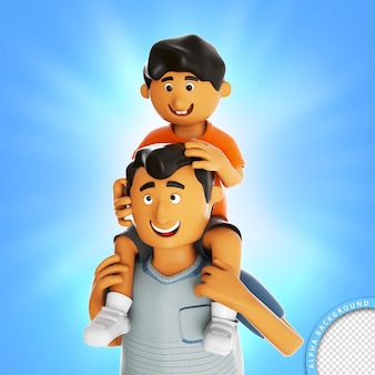 Ilustração 3d filho no pescoço do pai feliz dia dos pais