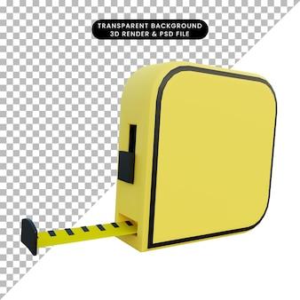 Ilustração 3d fita métrica