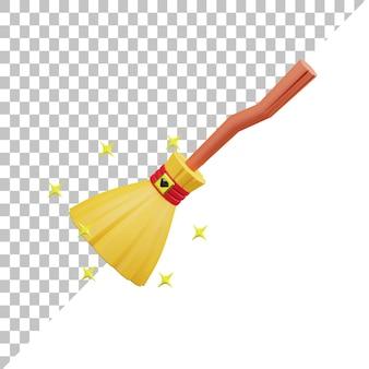 Ilustração 3d flying broom