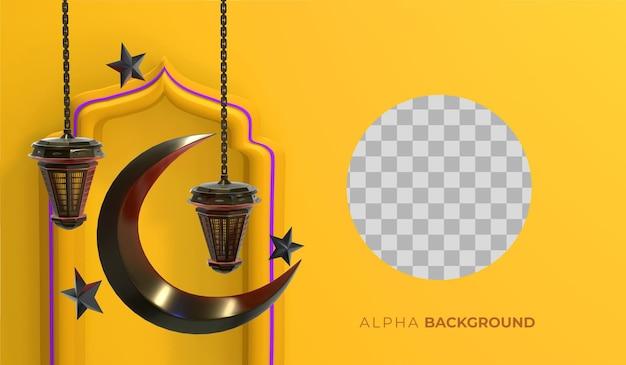 Ilustração 3d. fundo islâmico de ano novo