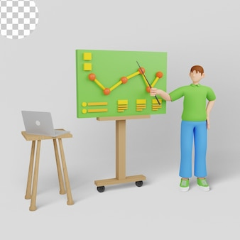 Ilustração 3d. gerentes de startups apresentando e analisando o gráfico de crescimento de vendas.