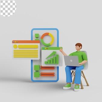 Ilustração 3d homem com laptop analisando relatório de gráfico de barras de diagrama de infográficos