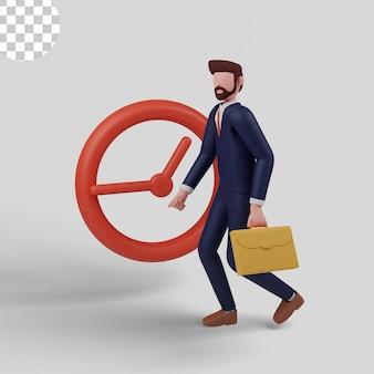 Ilustração 3d. homem fazendo rotina indo para o trabalho