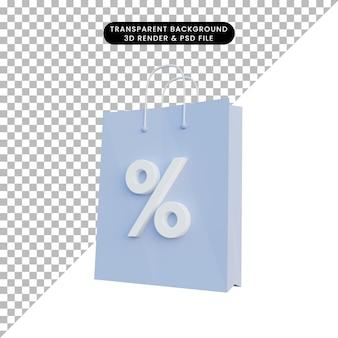 Ilustração 3d ícone de desconto de sacola de compras