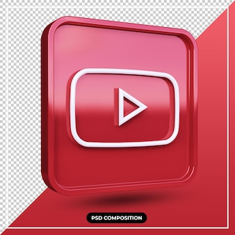 Ilustração 3d ícone do youtube