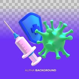 Ilustração 3d. ilustrações para campanha de vacinação