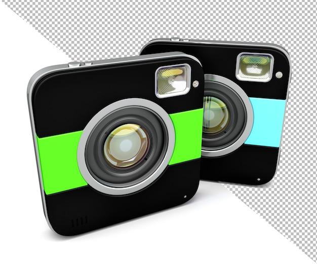 Ilustração 3d isolada da câmera quadrada