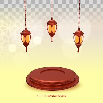 Ilustração 3d. lâmpadas islâmicas de ano novo