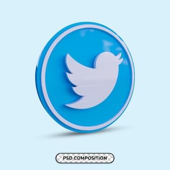 Ilustração 3d logotipo do twitter isolado