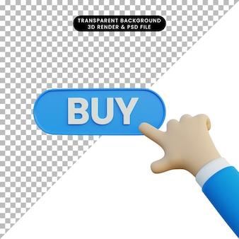 Ilustração 3d mão clique em sinal de compra