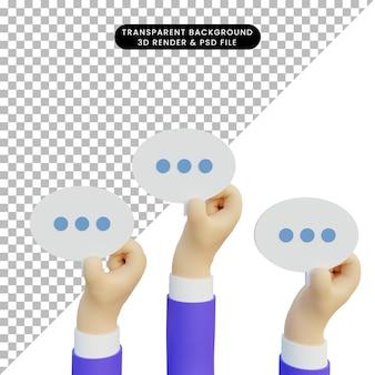 Ilustração 3d mão mostrando bolha de bate-papo