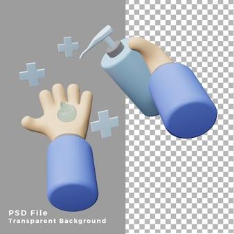 Ilustração 3d mão usando desinfetante para as mãos
