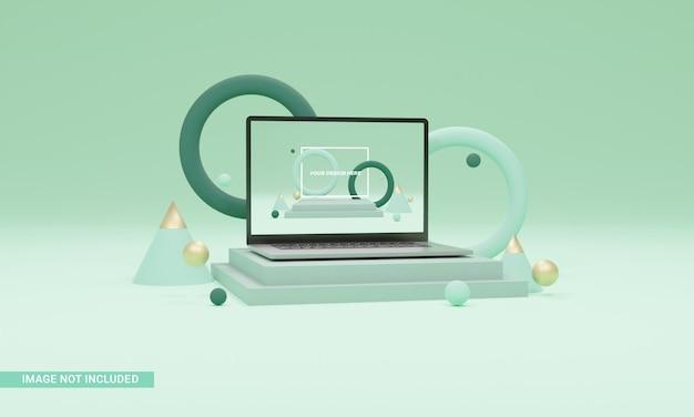 Ilustração 3d maquete de laptop isométrica