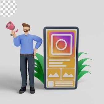 Ilustração 3d marketing de mídia social com anúncios instagram