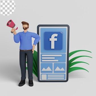 Ilustração 3d marketing de mídia social com anúncios no facebook