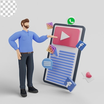 Ilustração 3d. marketing de mídia social para celular online